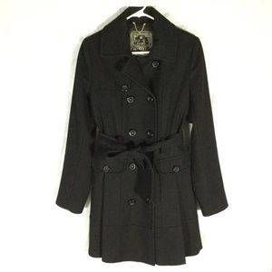 Guess Wool Blend Pleated Belted Dress Pea Coat